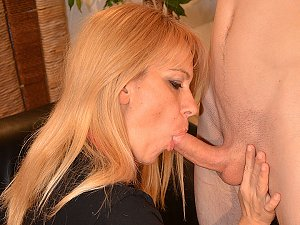 Horny blonde Milf gets fucked in both holes