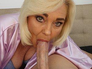 Blonde wife sucking big dick
